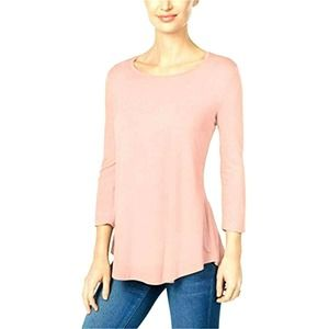 JM Collection 3/4 Sleeve Pink Tunic Top Tee M NWT